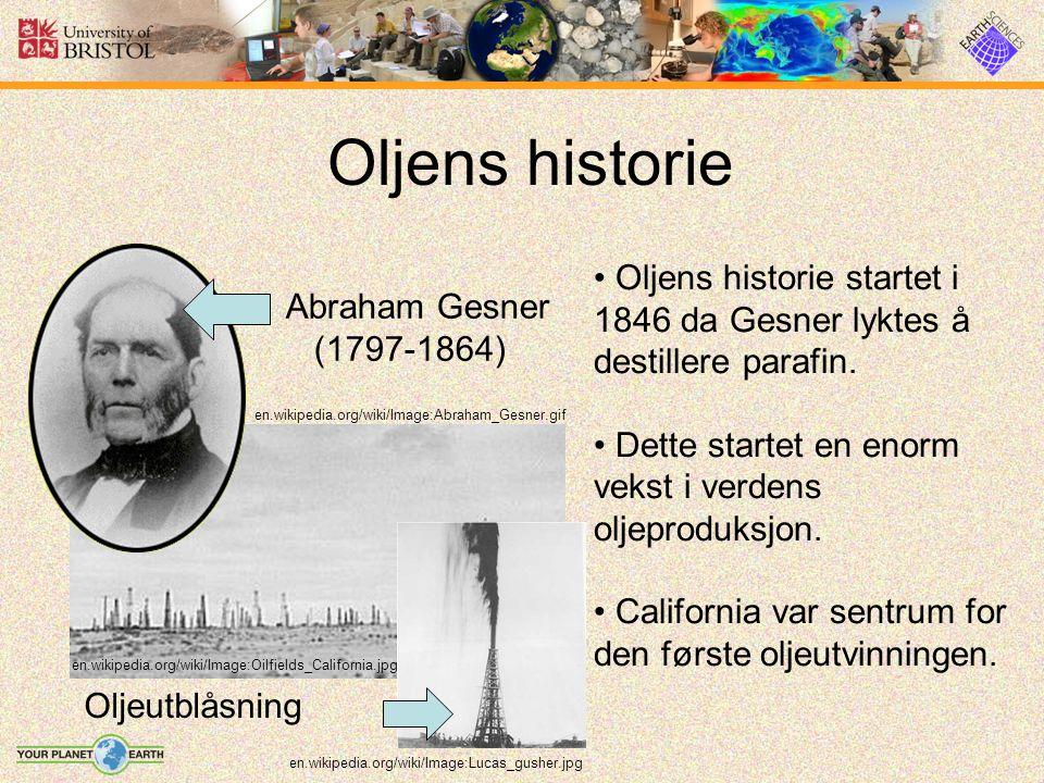 Oljens historie en.wikipedia.org/wiki/Image:Abraham_Gesner.gif en.wikipedia.org/wiki/Image:Oilfields_California.jpg Abraham Gesner (1797-1864) Oljeutblåsning Oljens historie startet i 1846 da Gesner lyktes å destillere parafin.