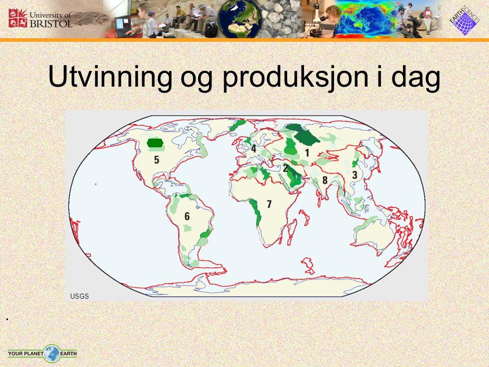 Utvinning og produksjon i dag USGS.