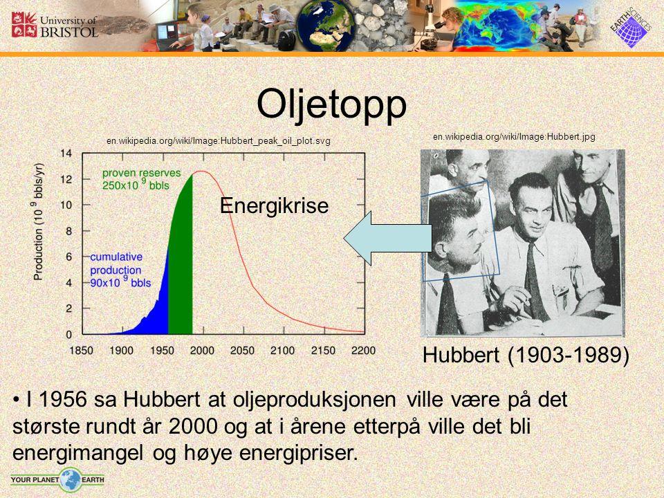 Oljetopp en.wikipedia.org/wiki/Image:Hubbert_peak_oil_plot.svg en.wikipedia.org/wiki/Image:Hubbert.jpg Hubbert (1903-1989) Energikrise I 1956 sa Hubbert at oljeproduksjonen ville være på det største rundt år 2000 og at i årene etterpå ville det bli energimangel og høye energipriser.