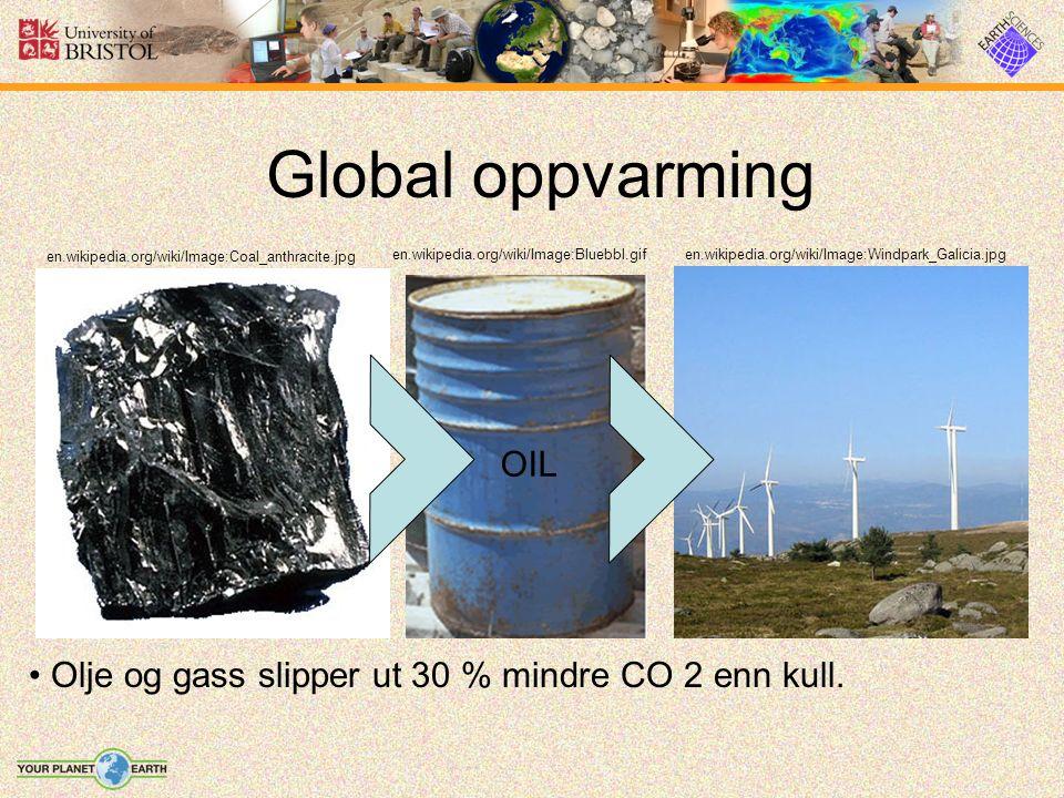 Global oppvarming Olje og gass slipper ut 30 % mindre CO 2 enn kull. en.wikipedia.org/wiki/Image:Coal_anthracite.jpg en.wikipedia.org/wiki/Image:Windp