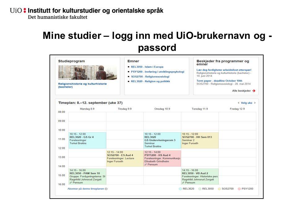 Mine studier – logg inn med UiO-brukernavn og - passord