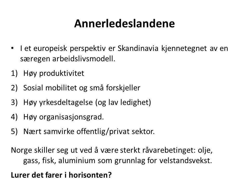 Annerledeslandene I et europeisk perspektiv er Skandinavia kjennetegnet av en særegen arbeidslivsmodell. 1)Høy produktivitet 2)Sosial mobilitet og små