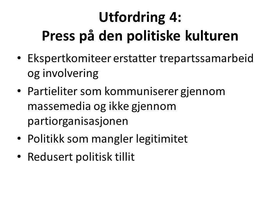 Utfordring 4: Press på den politiske kulturen Ekspertkomiteer erstatter trepartssamarbeid og involvering Partieliter som kommuniserer gjennom massemed