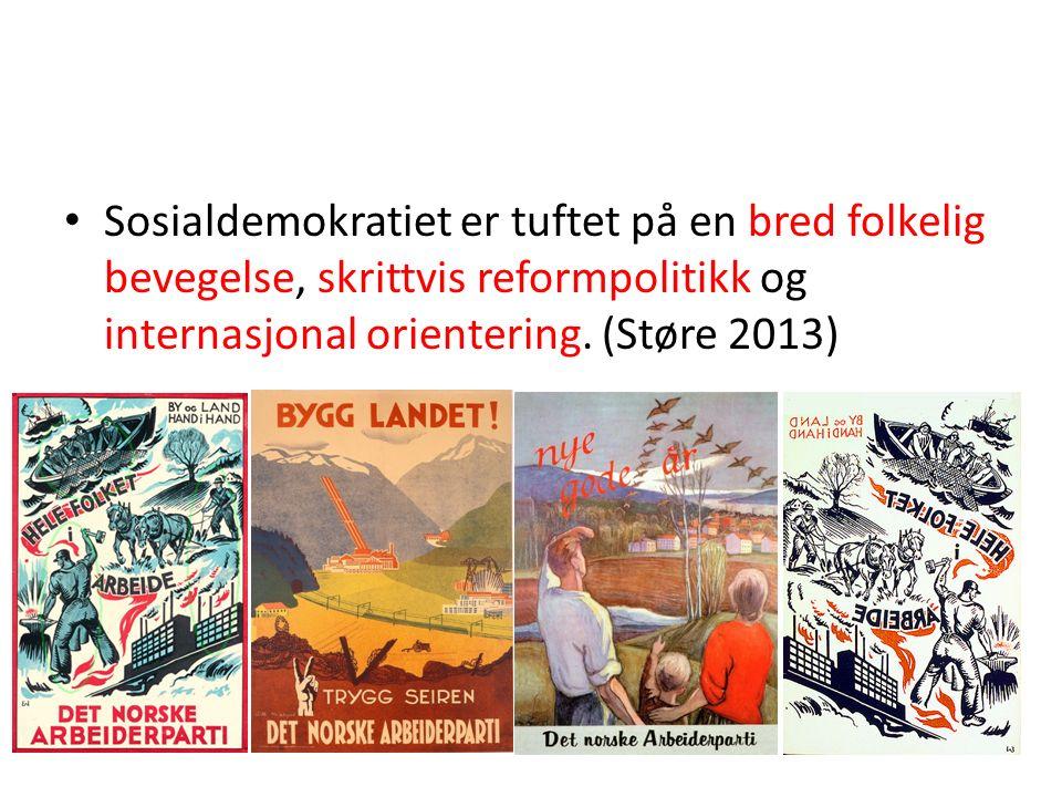 Sosialdemokratiet er tuftet på en bred folkelig bevegelse, skrittvis reformpolitikk og internasjonal orientering. (Støre 2013)