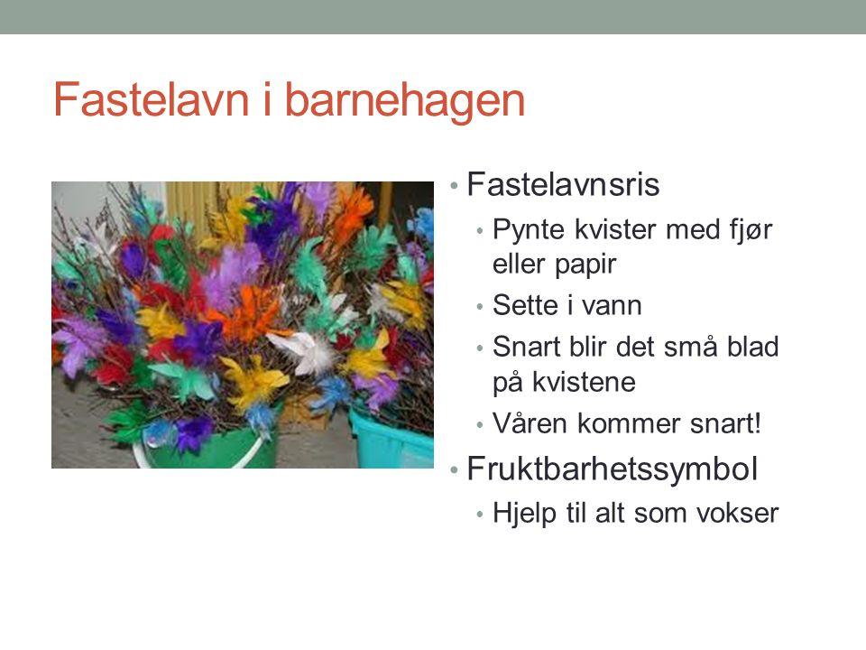Fastelavn i barnehagen Fastelavnsris Pynte kvister med fjør eller papir Sette i vann Snart blir det små blad på kvistene Våren kommer snart! Fruktbarh