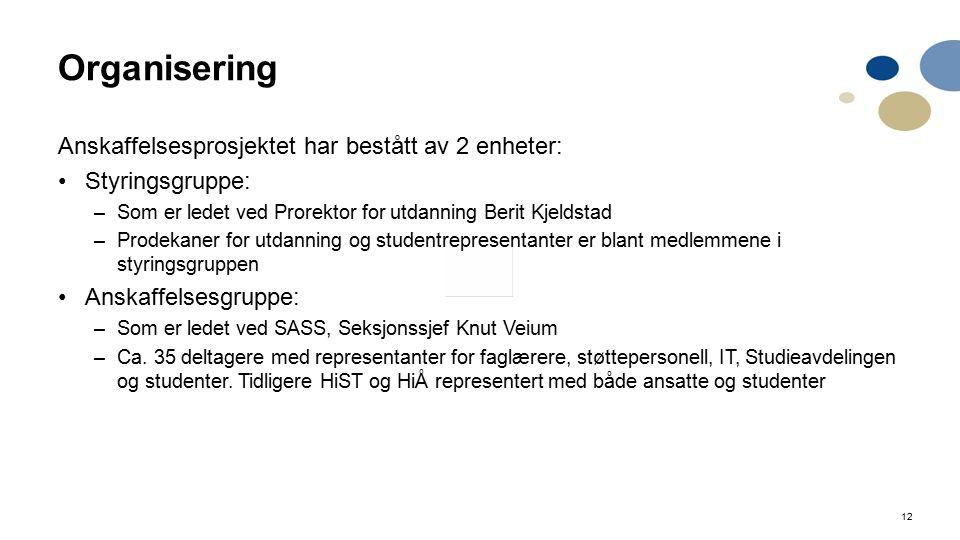 12 Organisering Anskaffelsesprosjektet har bestått av 2 enheter: Styringsgruppe: –Som er ledet ved Prorektor for utdanning Berit Kjeldstad –Prodekaner for utdanning og studentrepresentanter er blant medlemmene i styringsgruppen Anskaffelsesgruppe: –Som er ledet ved SASS, Seksjonssjef Knut Veium –Ca.