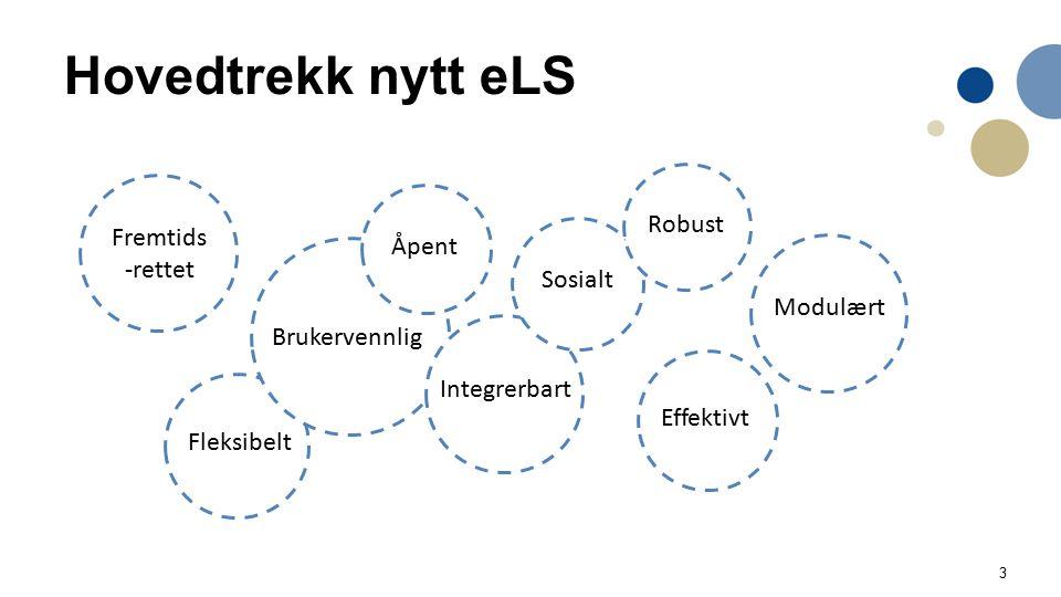 3 Hovedtrekk nytt eLS Fremtids -rettet Fleksibelt Brukervennlig Åpent Modulært Integrerbart Sosialt Effektivt Robust