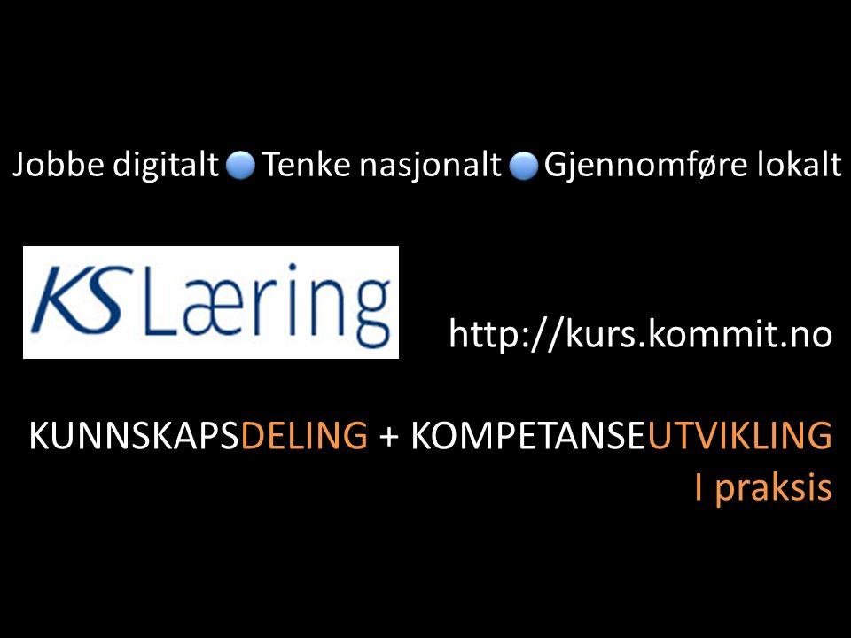 Jobbe digitaltGjennomføre lokaltTenke nasjonalt http://kurs.kommit.no KUNNSKAPSDELING + KOMPETANSEUTVIKLING I praksis