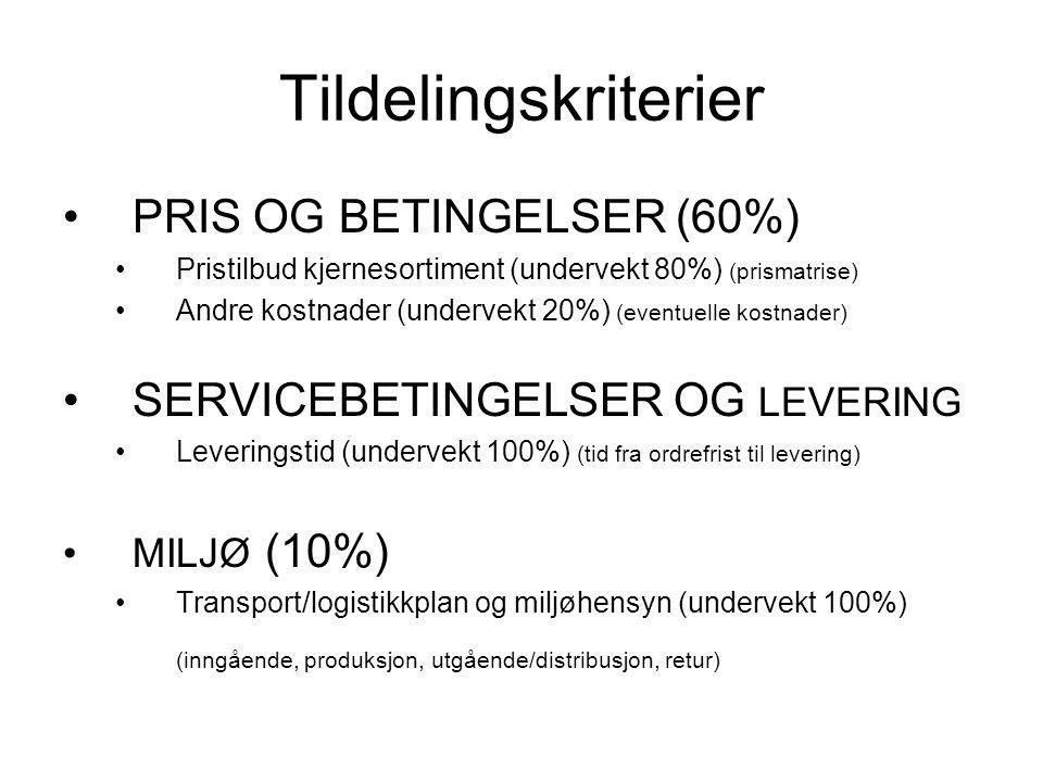 Tildelingskriterier PRIS OG BETINGELSER (60%) Pristilbud kjernesortiment (undervekt 80%) (prismatrise) Andre kostnader (undervekt 20%) (eventuelle kostnader) SERVICEBETINGELSER OG LEVERING Leveringstid (undervekt 100%) (tid fra ordrefrist til levering) MILJØ (10%) Transport/logistikkplan og miljøhensyn (undervekt 100%) (inngående, produksjon, utgående/distribusjon, retur)