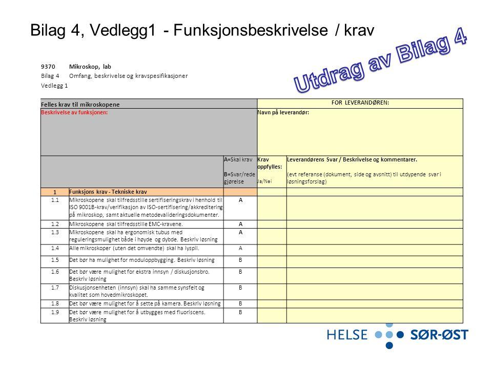 Bilag 4, Vedlegg1 - Funksjonsbeskrivelse / krav 9370Mikroskop, lab Bilag 4Omfang, beskrivelse og kravspesifikasjoner Vedlegg 1 Felles krav til mikrosk