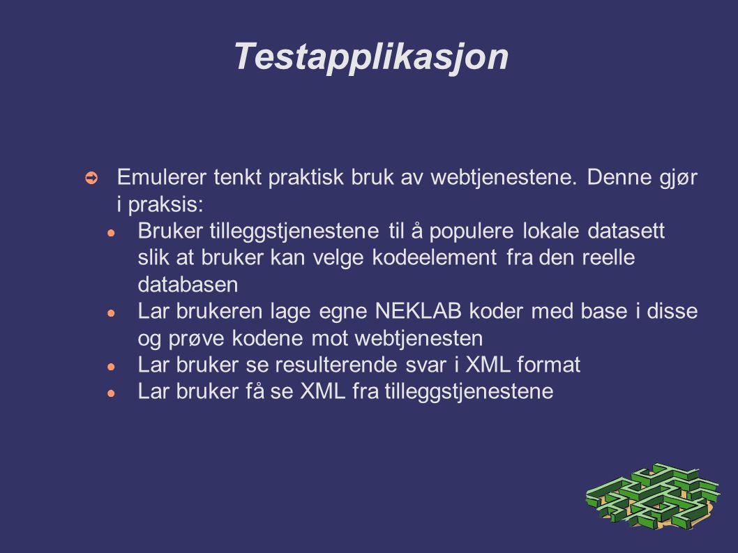 Testapplikasjon ➲ Emulerer tenkt praktisk bruk av webtjenestene.