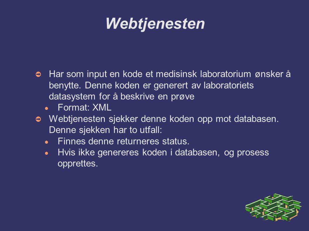 Webtjenesten ➲ Har som input en kode et medisinsk laboratorium ønsker å benytte.