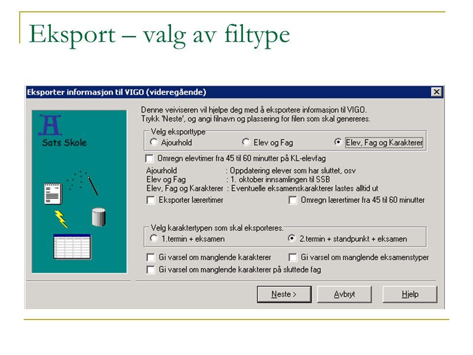 Eksport – valg av filtype