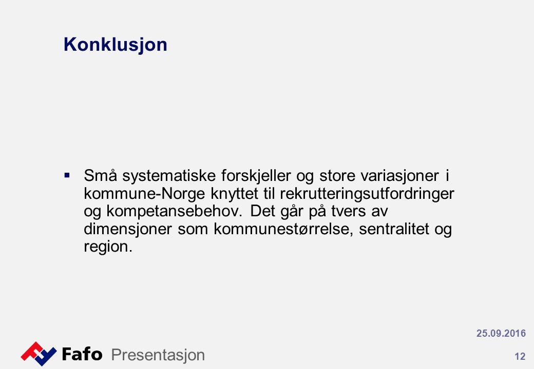 Konklusjon  Små systematiske forskjeller og store variasjoner i kommune-Norge knyttet til rekrutteringsutfordringer og kompetansebehov.