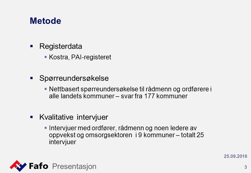 Metode  Registerdata  Kostra, PAI-registeret  Spørreundersøkelse  Nettbasert spørreundersøkelse til rådmenn og ordførere i alle landets kommuner –