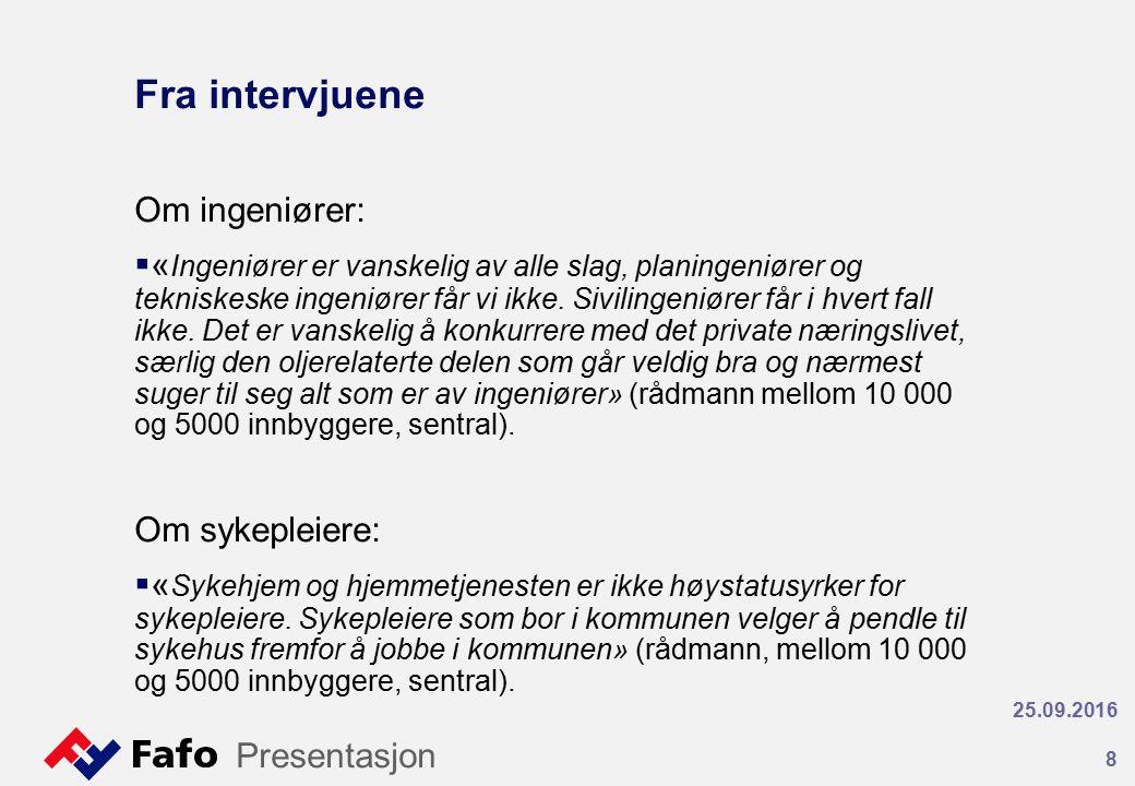 Fra intervjuene Om ingeniører:  « Ingeniører er vanskelig av alle slag, planingeniører og tekniskeske ingeniører får vi ikke.