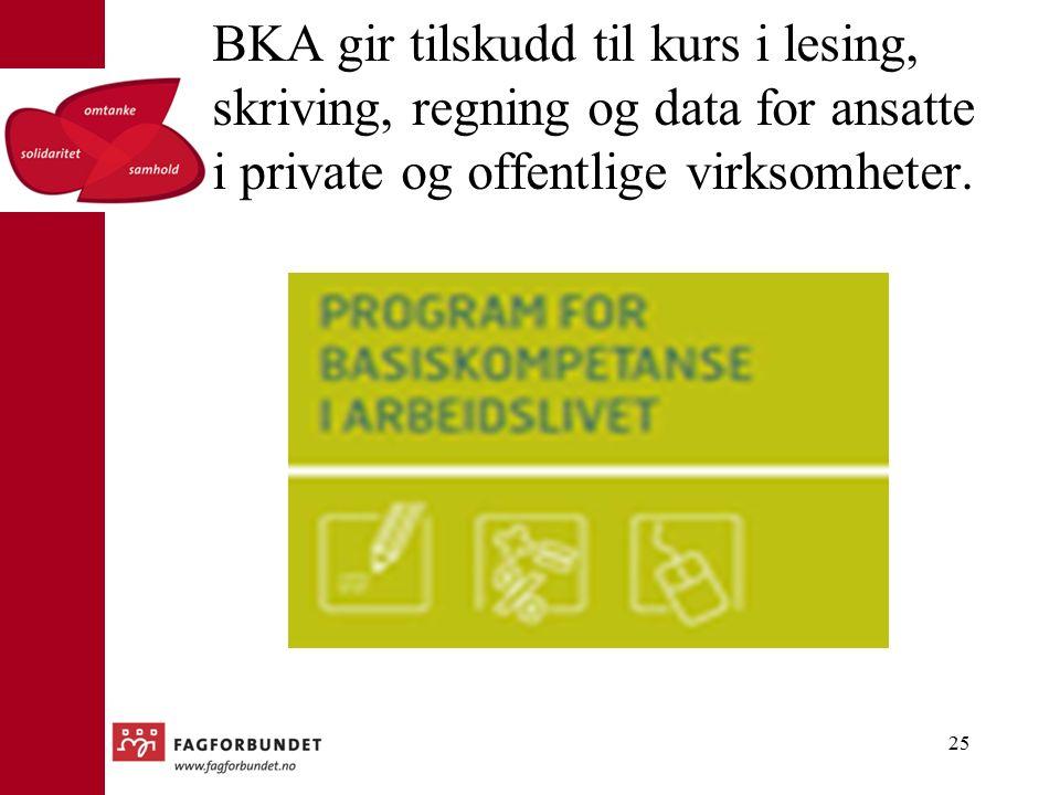25 BKA gir tilskudd til kurs i lesing, skriving, regning og data for ansatte i private og offentlige virksomheter.