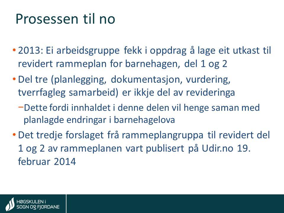 Tom Rune Kongelf Pressemelding våren 2014 Regjeringa vil samkøyre arbeidet med den nye rammeplanen og den planlagde gjennomgangen av barnehagelova.