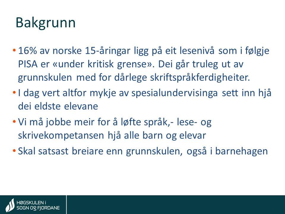 Tom Rune Kongelf Bakgrunn 16% av norske 15-åringar ligg på eit lesenivå som i følgje PISA er «under kritisk grense».