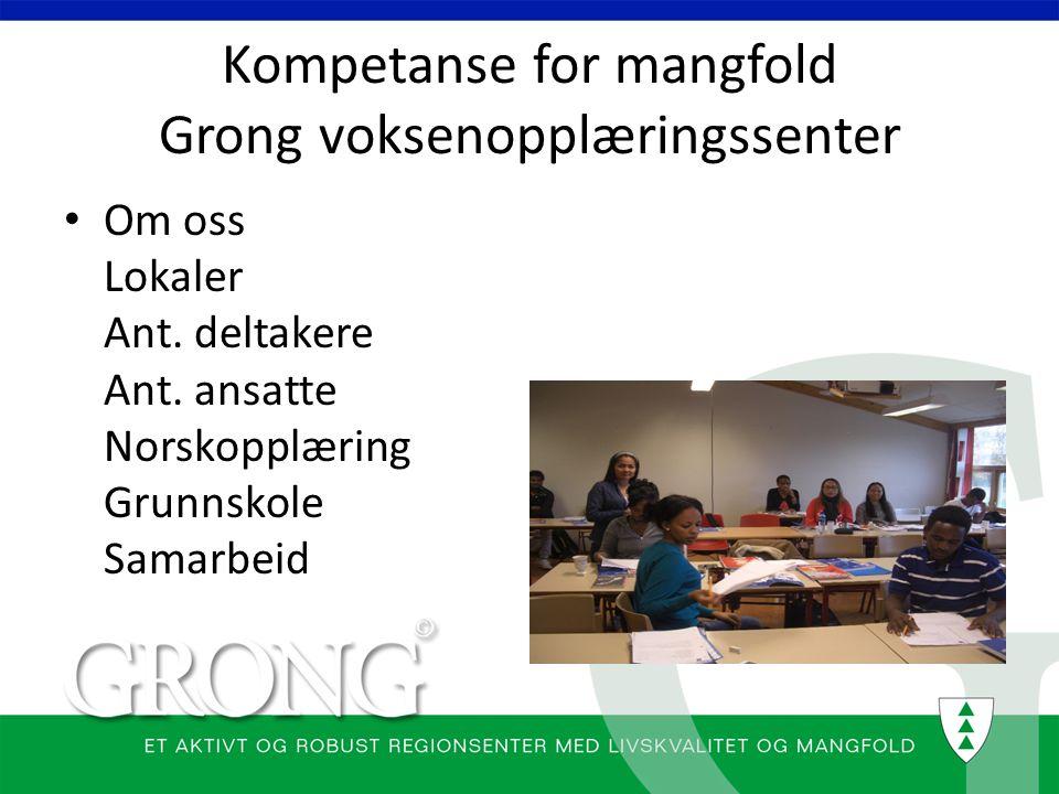Kompetanse for mangfold Grong voksenopplæringssenter Om oss Lokaler Ant. deltakere Ant. ansatte Norskopplæring Grunnskole Samarbeid