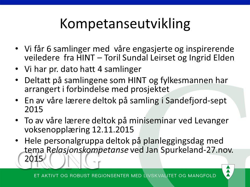 Kompetanseutvikling Vi får 6 samlinger med våre engasjerte og inspirerende veiledere fra HINT – Toril Sundal Leirset og Ingrid Elden Vi har pr. dato h