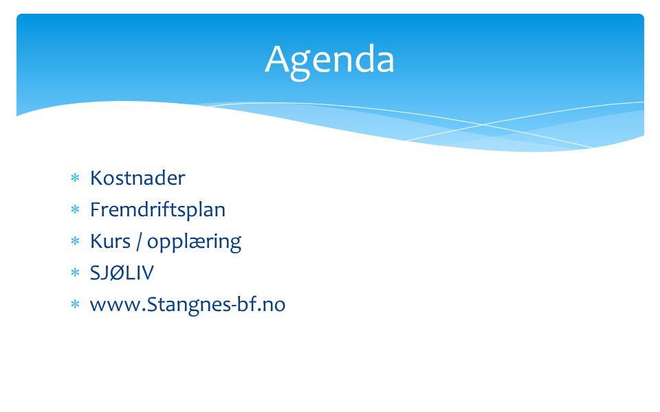  Kostnader  Fremdriftsplan  Kurs / opplæring  SJØLIV  www.Stangnes-bf.no Agenda