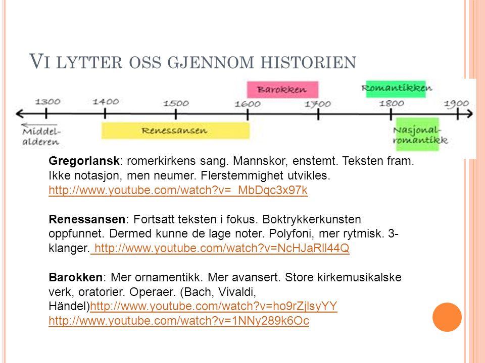 V I LYTTER OSS GJENNOM HISTORIEN Gregoriansk: romerkirkens sang. Mannskor, enstemt. Teksten fram. Ikke notasjon, men neumer. Flerstemmighet utvikles.