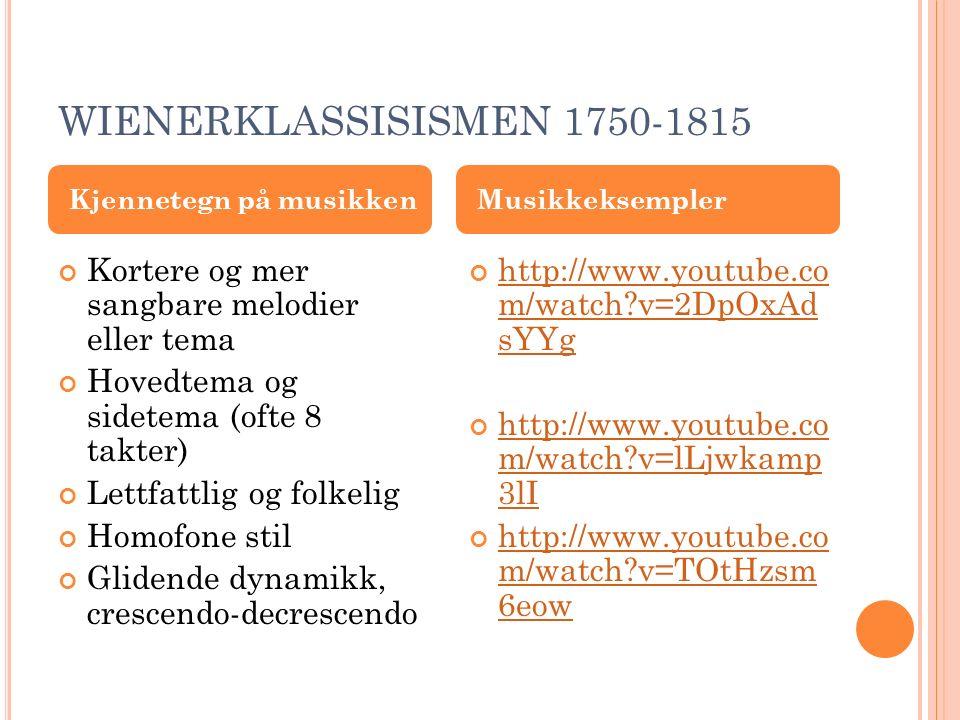 WIENERKLASSISISMEN Sonateform Symfoni (oftest 4 satser) Strykekvartetter Konserter Solosonater http://www.youtube.co m/watch?v=8VV0SIBo Hlo&feature=related http://www.youtube.co m/watch?v=XKOYTs1 KSSw https://www.youtube.c om/watch?v=ZCOrnz9 MjcU Musikkformer Eksmpler på musikkformer