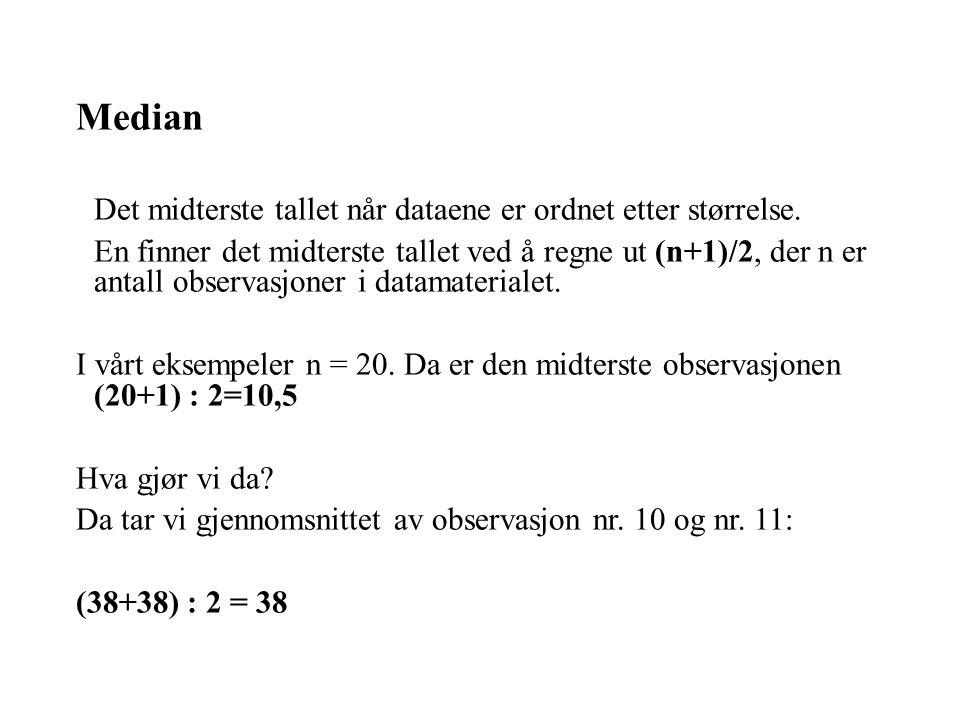 Det midterste tallet når dataene er ordnet etter størrelse.