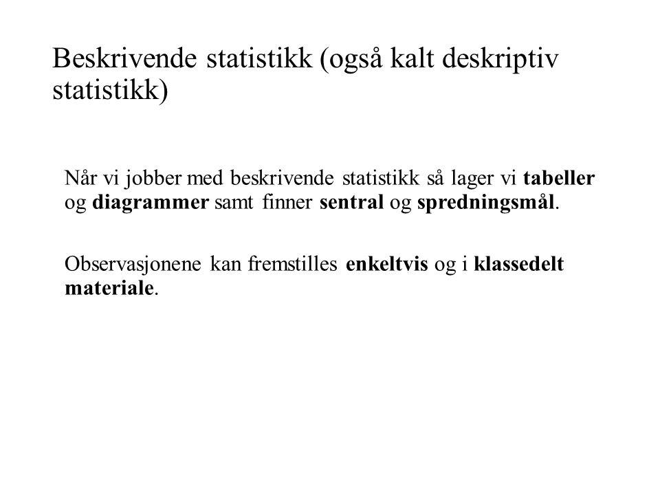Beskrivende statistikk (også kalt deskriptiv statistikk) Når vi jobber med beskrivende statistikk så lager vi tabeller og diagrammer samt finner sentral og spredningsmål.