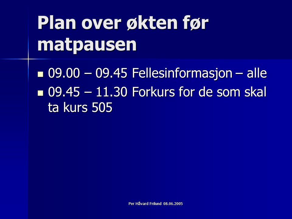 Per Håvard Frilund 08.06.2005 Omfang Gjennom tilvalg og bortvalg av stoff, kan deltakeren bruke fra 25 - 50 timer.