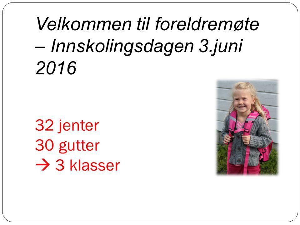 32 jenter 30 gutter  3 klasser Velkommen til foreldremøte – Innskolingsdagen 3.juni 2016