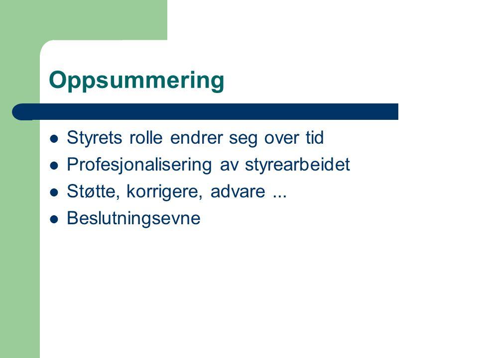 Oppsummering Styrets rolle endrer seg over tid Profesjonalisering av styrearbeidet Støtte, korrigere, advare...