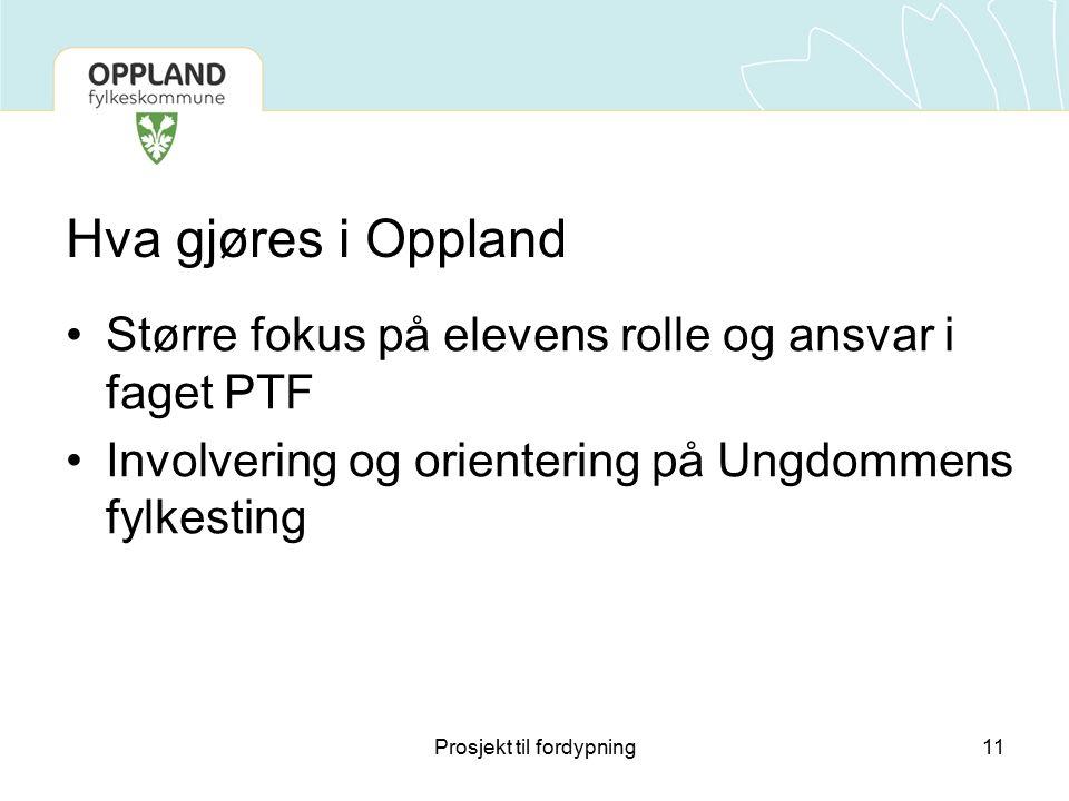 Hva gjøres i Oppland Større fokus på elevens rolle og ansvar i faget PTF Involvering og orientering på Ungdommens fylkesting 11Prosjekt til fordypning