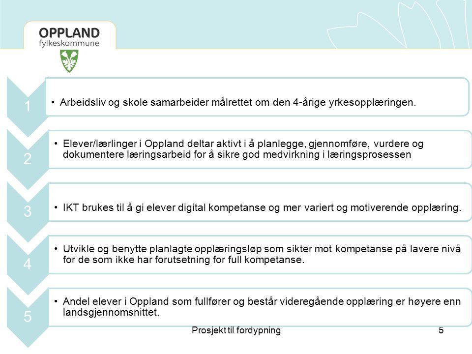 5 1 Arbeidsliv og skole samarbeider målrettet om den 4-årige yrkesopplæringen. 2 Elever/lærlinger i Oppland deltar aktivt i å planlegge, gjennomføre,