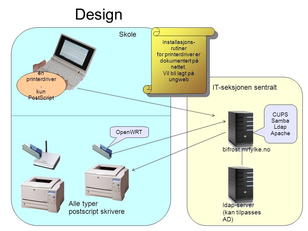 IT-seksjonen sentralt bifrost.mrfylke.no ldap-server (kan tilpasses AD) CUPS Samba Ldap Apache Skole OpenWRT Alle typer postscript skrivere Installasjons- rutiner for printerdriver er dokumentert på nettet.