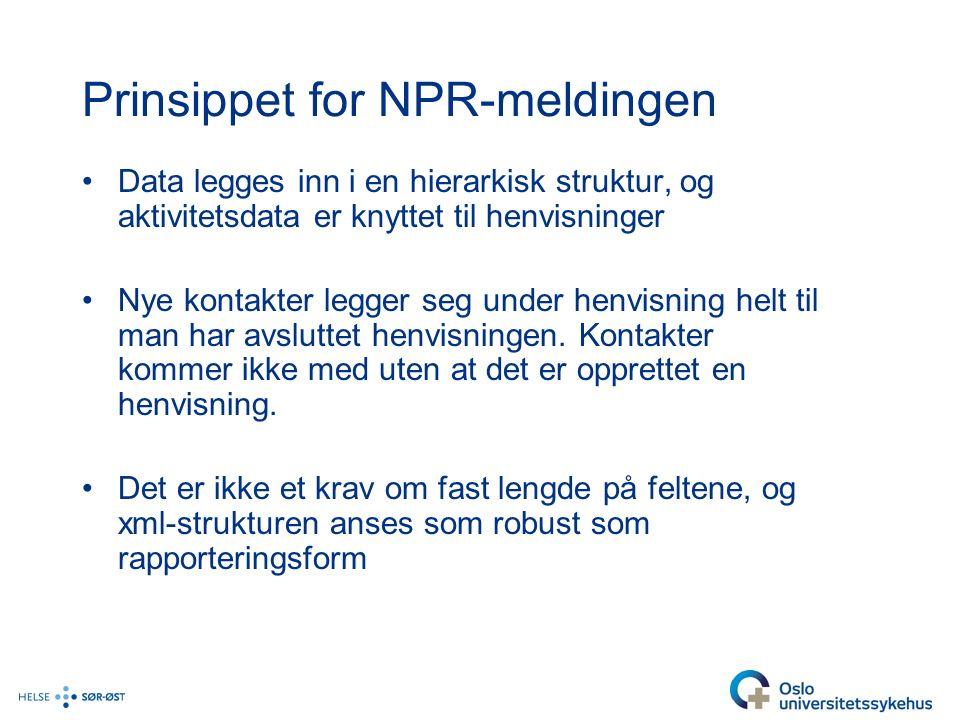 Prinsippet for NPR-meldingen Data legges inn i en hierarkisk struktur, og aktivitetsdata er knyttet til henvisninger Nye kontakter legger seg under henvisning helt til man har avsluttet henvisningen.