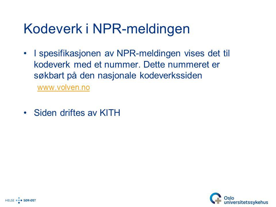 Kodeverk i NPR-meldingen I spesifikasjonen av NPR-meldingen vises det til kodeverk med et nummer.