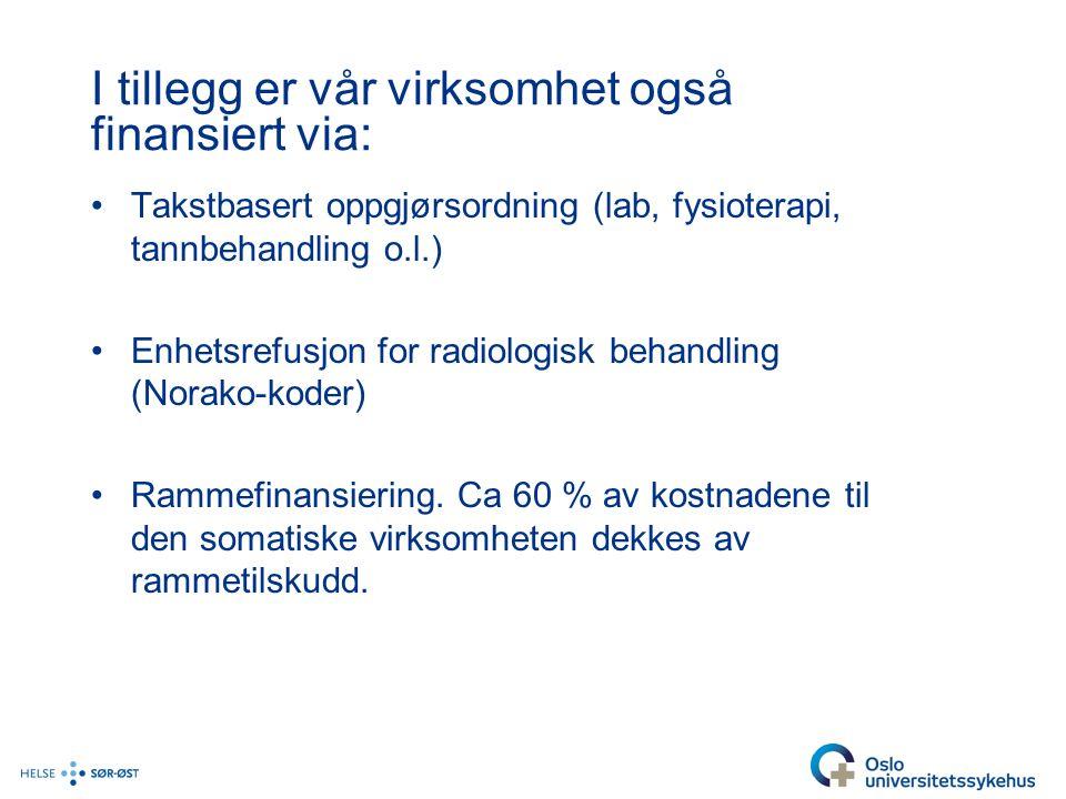 I tillegg er vår virksomhet også finansiert via: Takstbasert oppgjørsordning (lab, fysioterapi, tannbehandling o.l.) Enhetsrefusjon for radiologisk behandling (Norako-koder) Rammefinansiering.