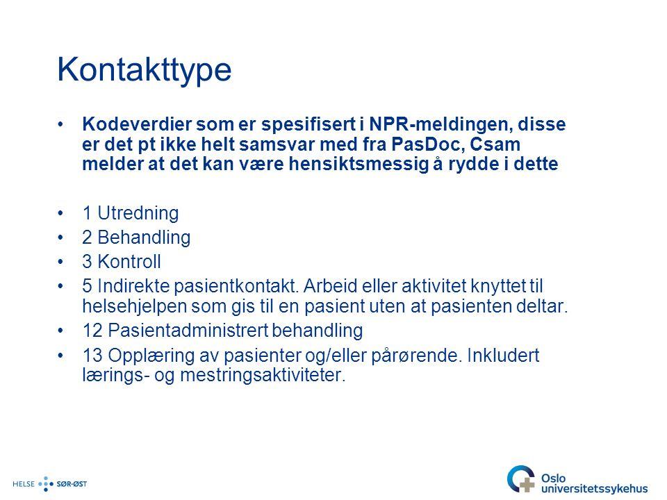 Kontakttype Kodeverdier som er spesifisert i NPR-meldingen, disse er det pt ikke helt samsvar med fra PasDoc, Csam melder at det kan være hensiktsmessig å rydde i dette 1 Utredning 2 Behandling 3 Kontroll 5 Indirekte pasientkontakt.