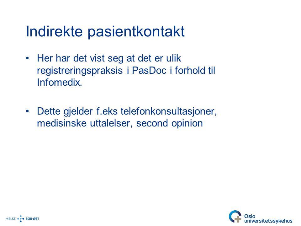 Indirekte pasientkontakt Her har det vist seg at det er ulik registreringspraksis i PasDoc i forhold til Infomedix.