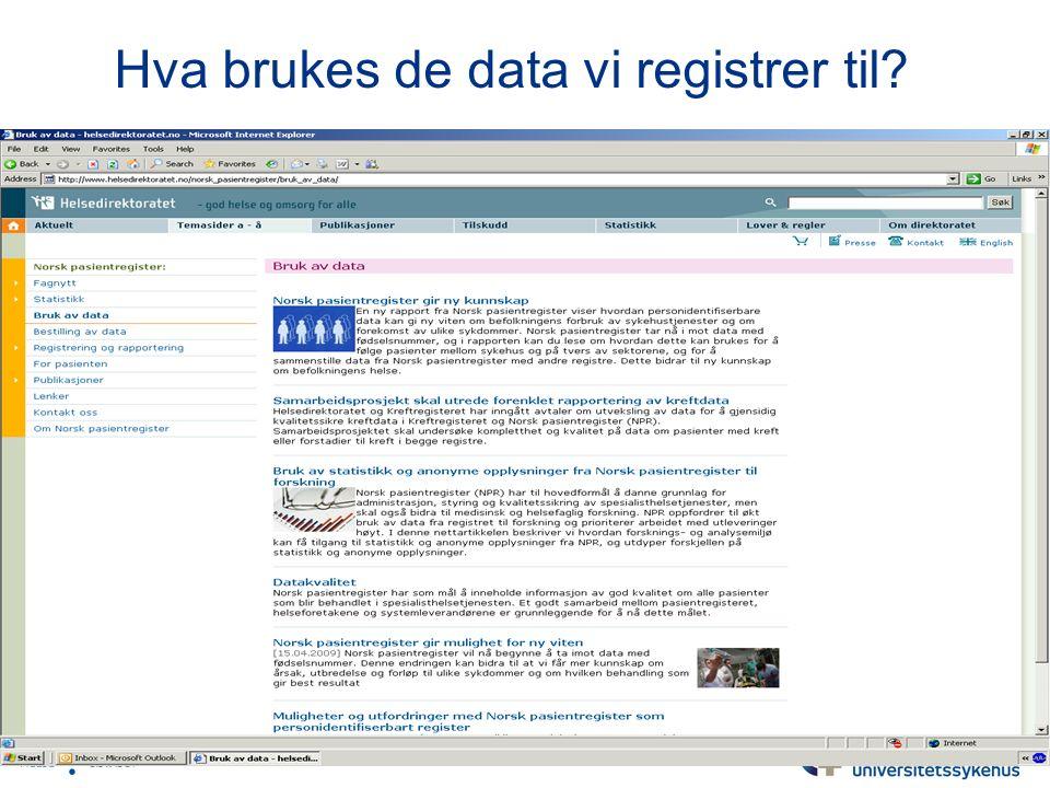 Hva brukes de data vi registrer til