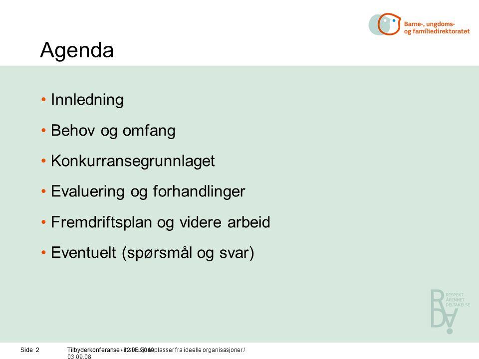 Side 2Tilbyderkonferanse / 12.05.2010Side 2Tilbyderkonferanse - institusjonsplasser fra ideelle organisasjoner / 03.09.08 Agenda Innledning Behov og o