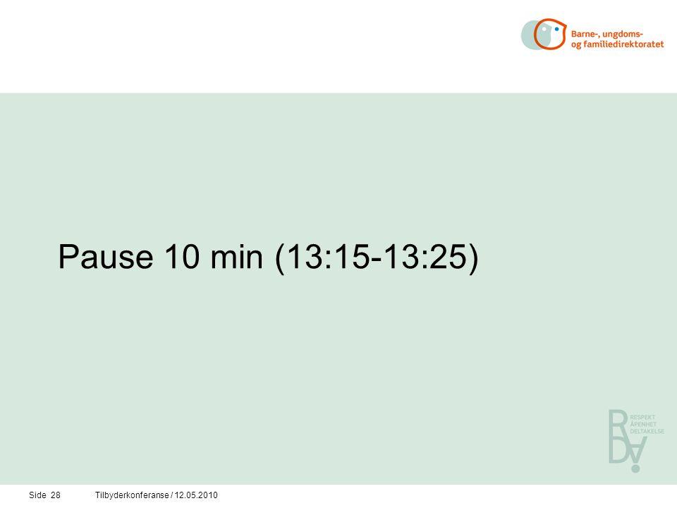 Side 28Tilbyderkonferanse / 12.05.2010 Pause 10 min (13:15-13:25)