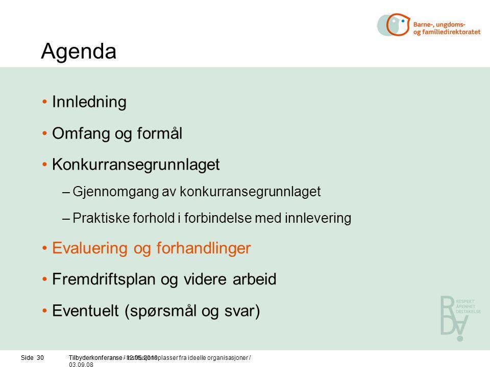 Side 30Tilbyderkonferanse / 12.05.2010Side 30Tilbyderkonferanse - institusjonsplasser fra ideelle organisasjoner / 03.09.08 Agenda Innledning Omfang o