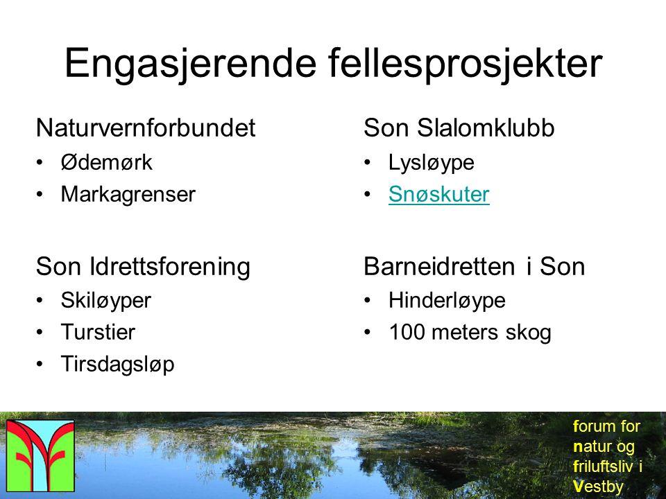 forum for natur og friluftsliv i Vestby Engasjerende fellesprosjekter Naturvernforbundet Ødemørk Markagrenser Son Idrettsforening Skiløyper Turstier T