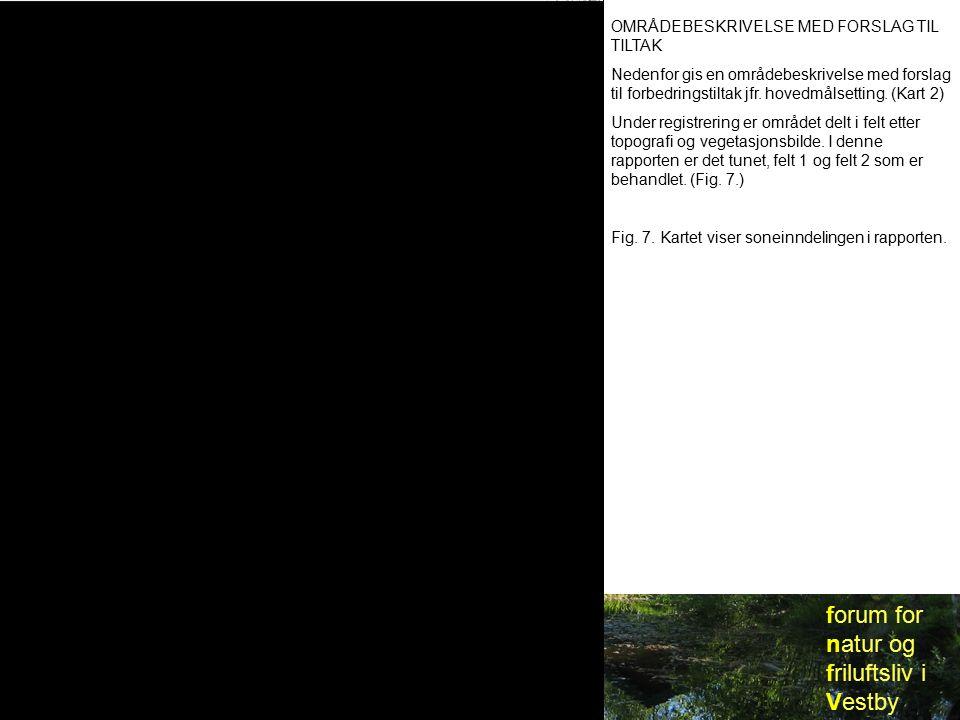 forum for natur og friluftsliv i Vestby OMRÅDEBESKRIVELSE MED FORSLAG TIL TILTAK Nedenfor gis en områdebeskrivelse med forslag til forbedringstiltak jfr.