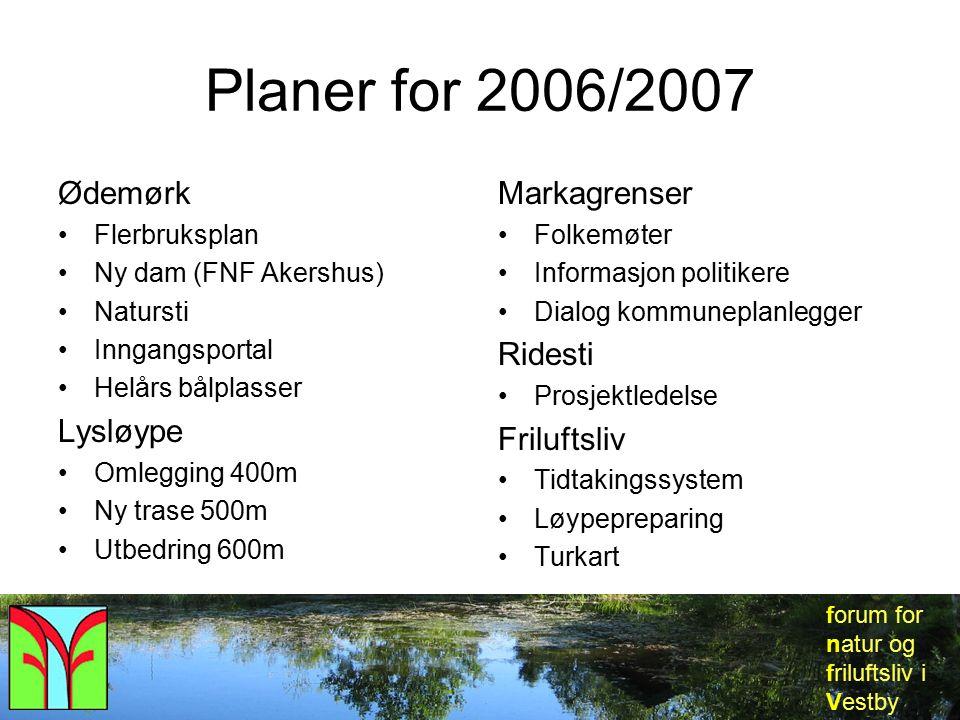 forum for natur og friluftsliv i Vestby Planer for 2006/2007 Ødemørk Flerbruksplan Ny dam (FNF Akershus) Natursti Inngangsportal Helårs bålplasser Lys