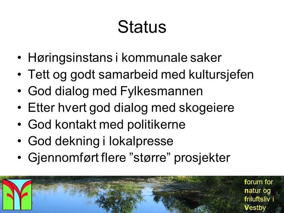 forum for natur og friluftsliv i Vestby Status Høringsinstans i kommunale saker Tett og godt samarbeid med kultursjefen God dialog med Fylkesmannen Et