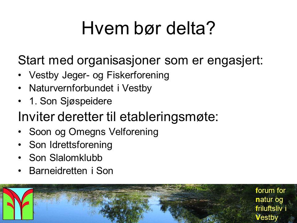 forum for natur og friluftsliv i Vestby Hvem bør delta? Start med organisasjoner som er engasjert: Vestby Jeger- og Fiskerforening Naturvernforbundet